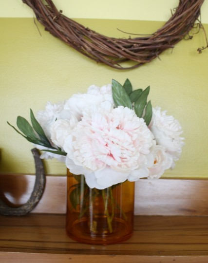 Shortened peonies on the mantel.