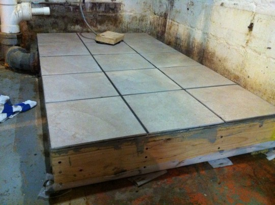Mortared tiles in place.