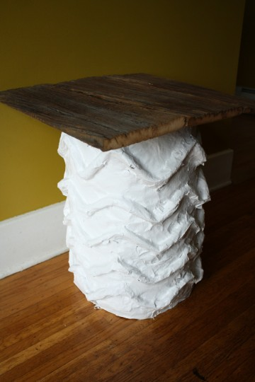Square tabletop on the DIY papier mache side table.