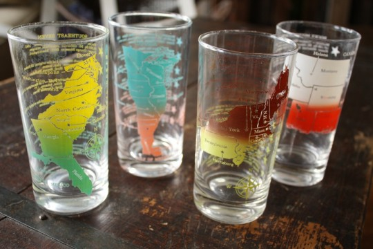 Colorful glassware featuring the USA.