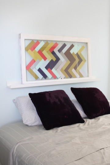 Herringbone glass-paned headboard!