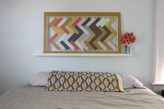 Glass-paned herringbone headboard with some IKEA canvas too.