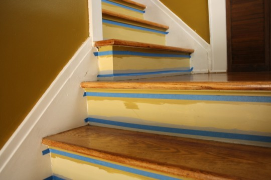 Taping prior to adding the third and fourth colors to the stairs.