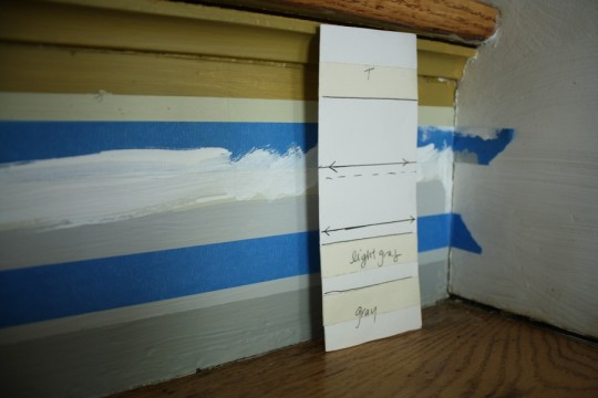 A template for ensuring even tape lines.