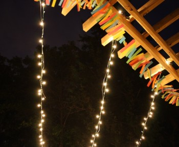 DIY string lights for a canopy.