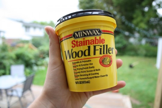 Recommended Minwax Stainable Wood Filler.