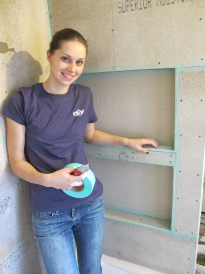 Those are some custom shelves. Check out DIYNetwork.com for more detail on how we built them in our shower!