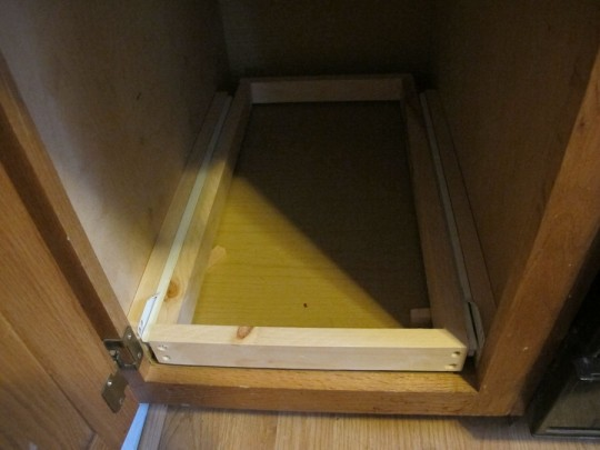 The drawer slides! Has clearance over the threshold! Woot.