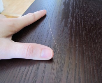 Table scratch repair.