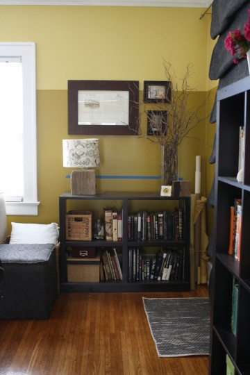 How about a shelf above another bookshelf?