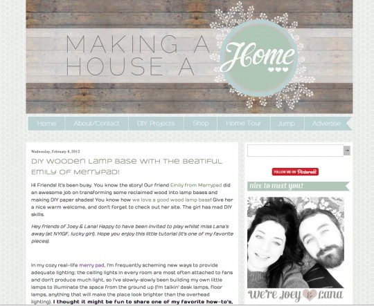 Guest post at Making A House A Home.