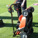 Black & Decker's 36V Cordless Mower. It folds up for storage with the flip of a switch.