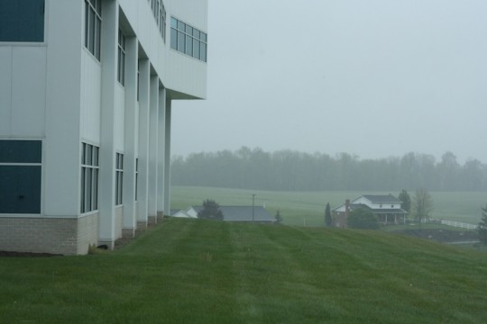 An overcast countryside at Genie headquarters, Mt. Hope, OH.