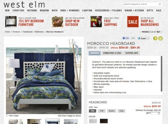 The West Elm Moroccan Headboard: A geometric, laser-cut beauty.