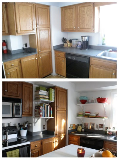 Even if there are fewer cabinets now, they're still an unfavorable color.