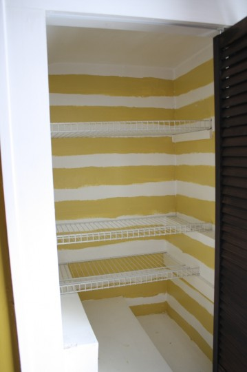 Hand painted striped closet.