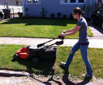 Testing our Black & Decker mower.