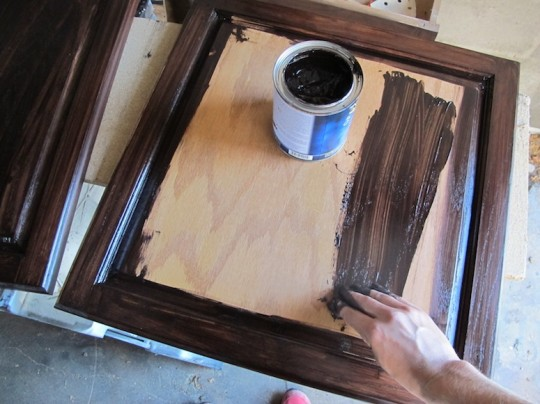Staining the cabinets with Java Gel Stain by General Finishes.