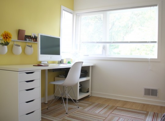 Punching up an office space with a pop of yellow.