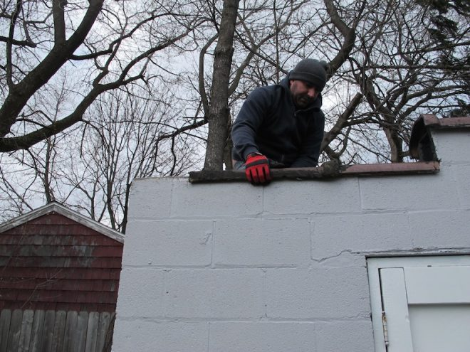 Garage roof repair, circa February 2012.