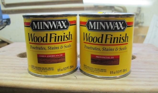 Comparing two minwax stains: Early American vs. Provincial.