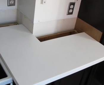 The countertop wasn't installed in this part intentionally, so that we could stain that small area to the right of the image.