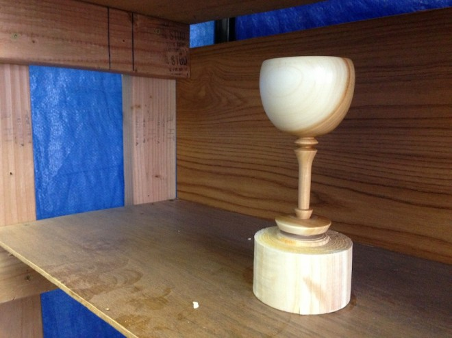 Wooden wine goblet by Sam Tischler, Rochester Woodturner.