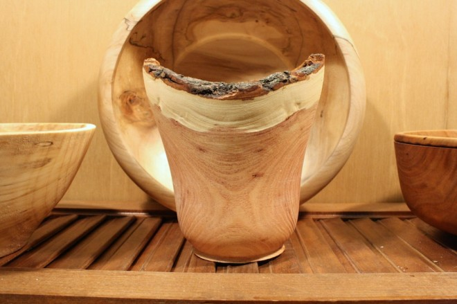 Raw edge cup by Sam Tischler, Rochester Woodturner.