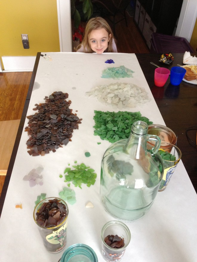 Sorting beach glass from Lake Ontario.