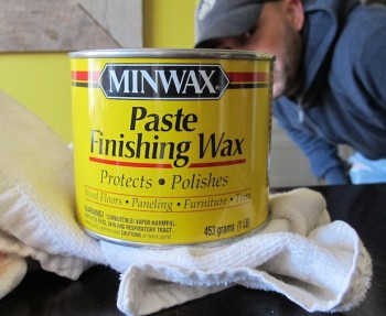 Minwax Paste Finishing Wax to seal our pine wedding tables.