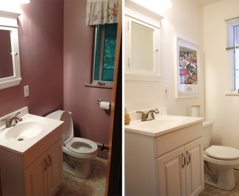 Half bath progress: Before and Current with a fresh coat of white paint.