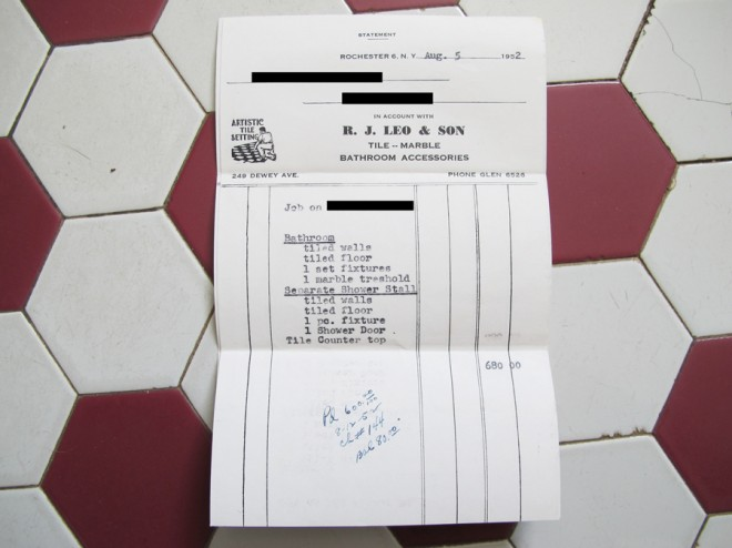 The original invoice from our 1952 bathroom tile installation.