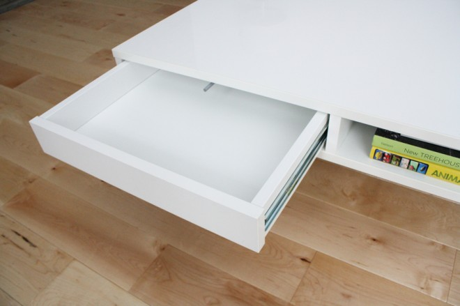 Push drawers in our contemporary coffee table.