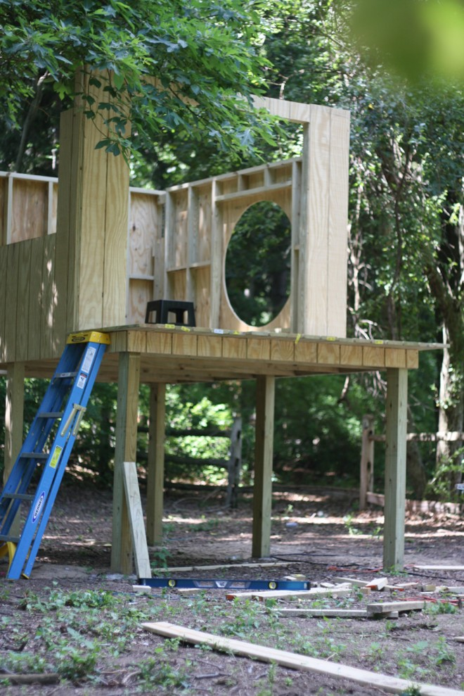 We installed t1-11 as the outer walls of our modern children's treehouse.
